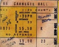Ticket Stub 11/25/71