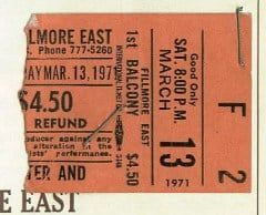 3/13/1971 Fillmore East tix