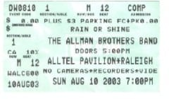 My ABB 08-10-2003 Ticket Stub