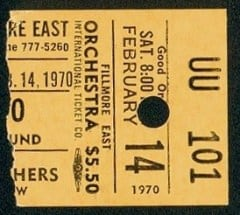 fillmore east ticket 1970